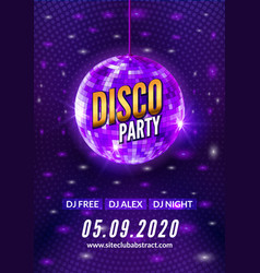 disco dance party background flyer poster vector image