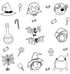 Doodle of magician face halloween vector