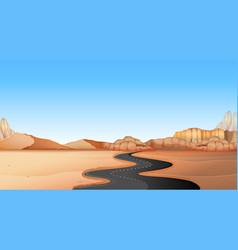 empty road through desert land vector image
