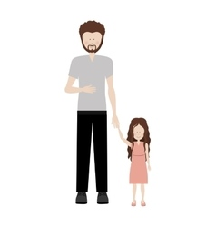 Father holding hand a little girl vector