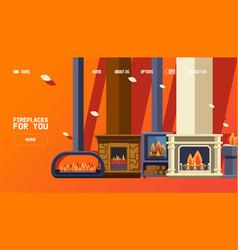 fireplace shop website modern home decoration vector image