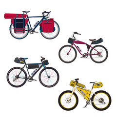 flat set of bikepacking bikes with vector image