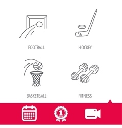 Football ice hockey and fitness sport icons vector