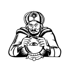 Fortune teller eye on crystall ball woodcut vector