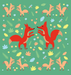 Fox pattern dark green vector