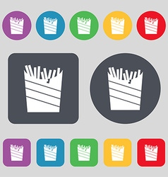 Fry icon sign A set of 12 colored buttons Flat vector