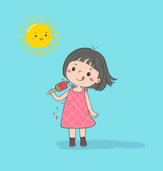Girl with watermelon ice cream vector