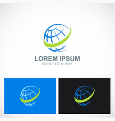 Globe business earth technology logo vector