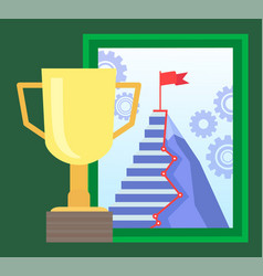 gold cup and online education ladder and goal vector image