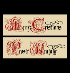 gothic christmas calligraphy uncial fraktur vector image
