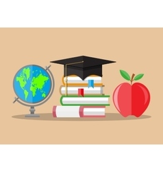 Graduate hat globe books apple education vector image
