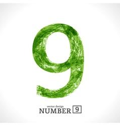 Grunge Number 9 vector image