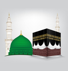 Gumbad e khazra and kaaba tullah vector