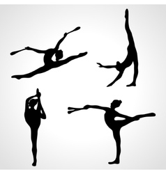 Gymnastic girls with clubs silhouettes collection vector image