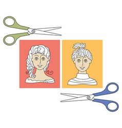 Hairstyles and scissors 4 vector