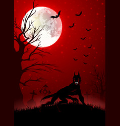 halloween background with black wolf vector image