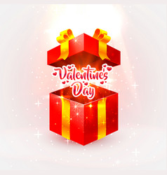 happy valentines day open gift vector image