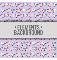 Hearts diamonds background elements design vector