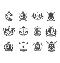 Heraldic Premium Quality Emblems Set vector