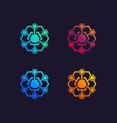 hexagonal technology logo designs template vector image
