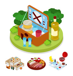 Isometric bbq picnic bag summer holiday camp vector