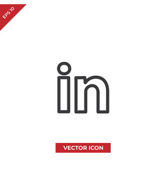 linkedin social logo icon vector image