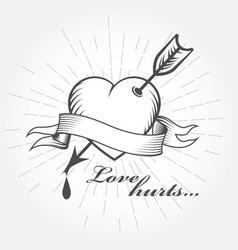 Love hurts valentines day - heart with arrow vector
