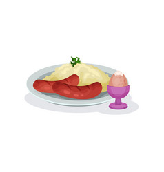 mashed potatoes with sausages and boiled egg in vector image
