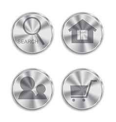 Metal button with circular processing vector