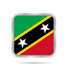 metallic square flag of saint kitts and nevis vector image