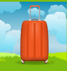 Modern suitcase in front of grass and sky vector