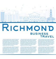 Outline Richmond Virginia Skyline with Blue Buildi vector