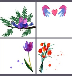 Painted bouquet tulips flowers vector