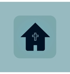 Pale blue christian house icon vector