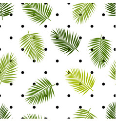 Palm leaf silhouettes and polka dot seamless vector