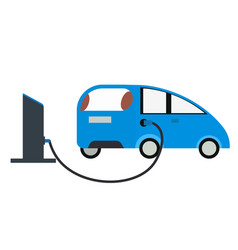 petrol pump and blue car flat vector image