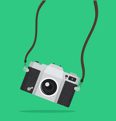 Photography hanging vintage camera background vector