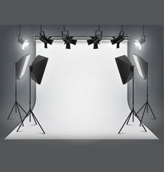 Photography studio photo backdrop and spotlight vector