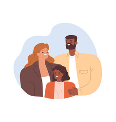 portrait happy mixed-race family smiling vector image