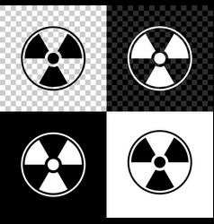 radioactive icon isolated on black white and vector image