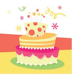 retro birthday cake vector image