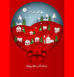 santa claus on the sky with snowflake deer and vector image