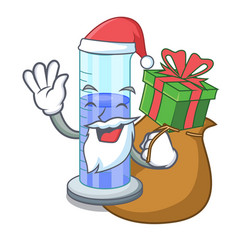 Santa with gift graduated cylinder on for cartoon vector