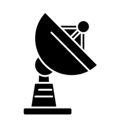 satellite dish icon black vector image vector image