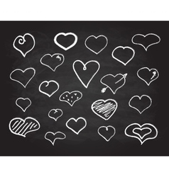 scribble chalk heart icons set vector image