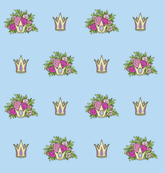 seamless pattern from tiaras with flowers on blue vector image