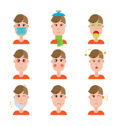 Season and other disease avatars man face made in vector