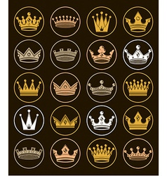 Set 3d golden royal crowns isolated majestic vector