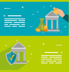 Set banks structures with icons vector