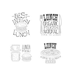 set hand drawn lunch logo templates vector image